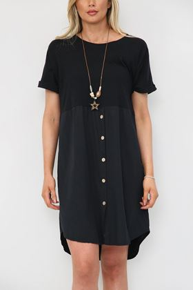 Picture of Black Button Up Knee High Dress