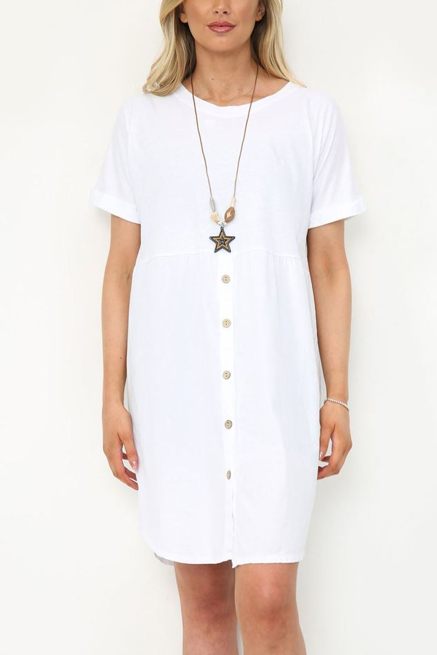 Picture of White Button Up Knee High Dress