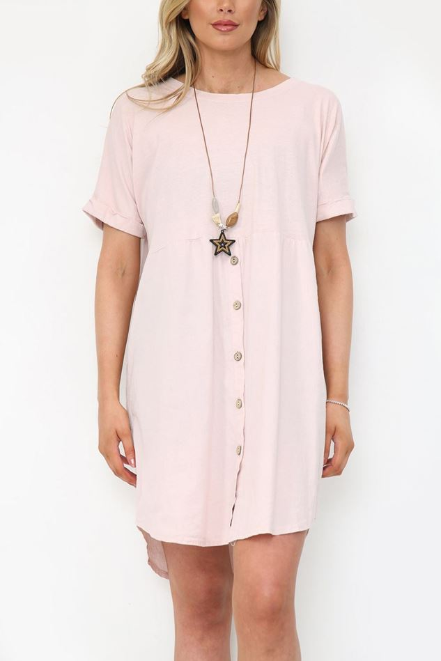 Picture of Pale Pink  Button Up Knee High Dress