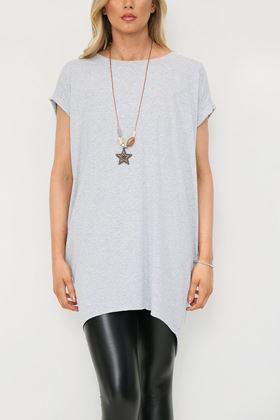 Picture of Grey  Longline T Shirt with Necklace