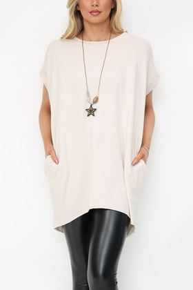 Picture of Beige Longline T Shirt with Necklace