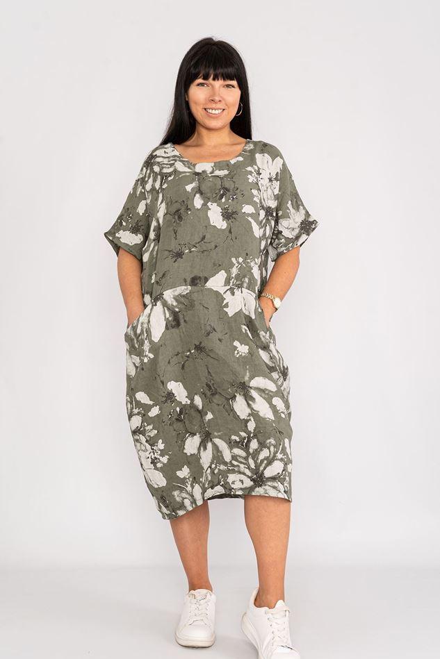 Picture of Khaki  Floral Linen Dress