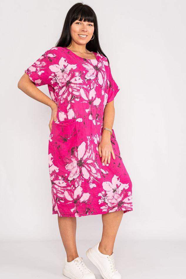 Picture of Fuschia Floral Linen Dress