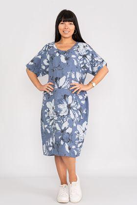 Picture of Blue Floral Linen Dress