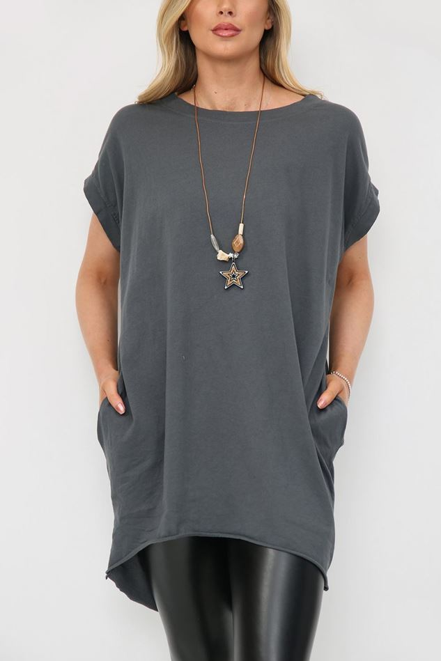 Picture of Charcoal Longline T Shirt with Necklace