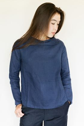 Picture of Mousqueton Odia Navy Linen Top
